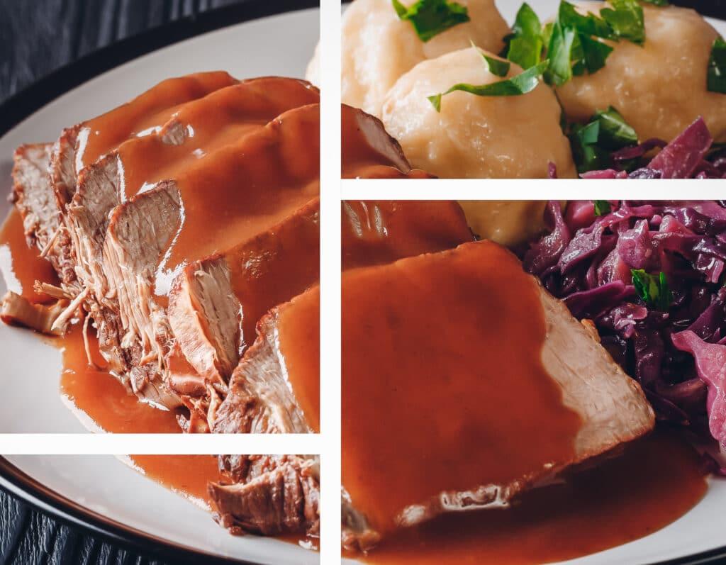 Soßen: dieses Bild zeigt Fleisch mit einer braunen Soße