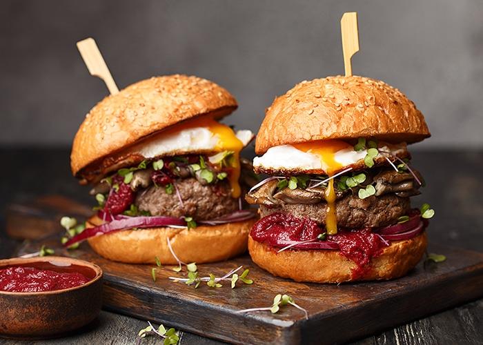 Hackfleisch-Gewürz: dieses Bild zeigt einen Hamburger