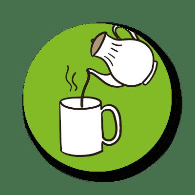 Suppen: dieses Icon zeigt den zweiten Schritt der Zubereitung unserer Tassensuppen