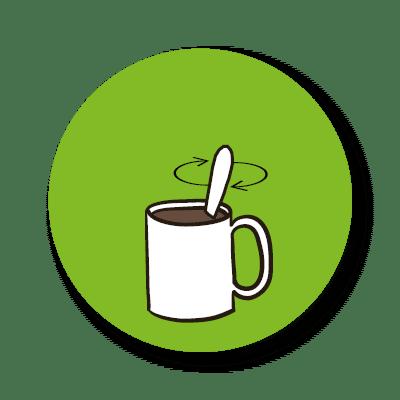 Suppen: dieses Icon zeigt den dritten Schritt der Zubereitung unserer Tassensuppen