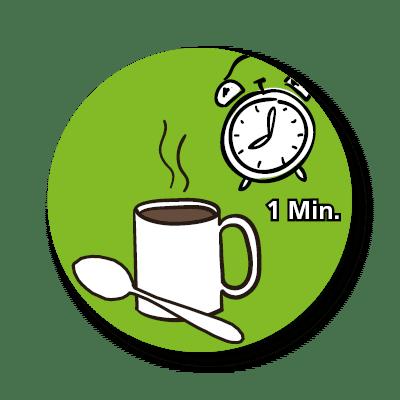 Suppen: dieses Icon zeigt den vierten Schritt der Zubereitung unserer Tassensuppen